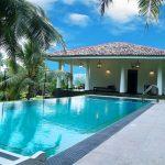 piscina con giardino e palme